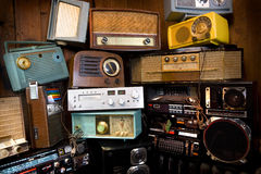 Vintage Radio's. Stacked on top of each other Royalty Free Stock Image
