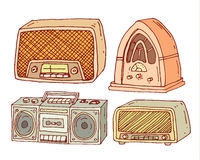 Vintage radio set, vector illustration Royalty Free Stock Images