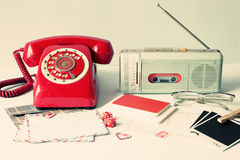 Vintage radio and telephone Stock Photo