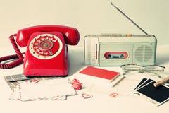 Vintage radio and telephone Stock Photo