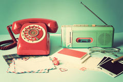 Vintage radio and telephone Stock Images