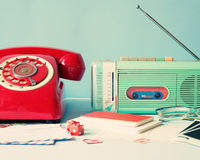 Vintage radio and telephone Royalty Free Stock Images