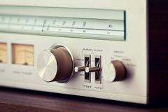 Vintage Radio Tuner Shiny Metal Tuning Knob Royalty Free Stock Photo