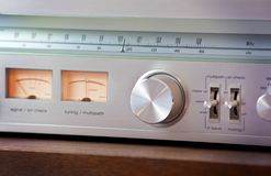 Vintage Radio Tuner Shiny Metal Tuning Knob Stock Photos