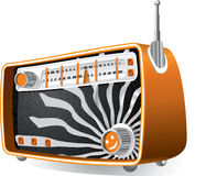 Vintage Radio. Vector illustration of a vintage radio with analog dials and retractable antenna. AI8 vector file included Stock Photography