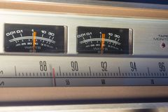 Vintage radio. Showing VU meters in action Stock Images