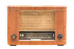 Vintage radio on the white. Background,Old radio from 1950 royalty free stock photos