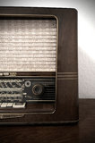 Vintage radio on wooden dresser Royalty Free Stock Images