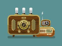 Vintage Radios in Flat Style Royalty Free Stock Photos