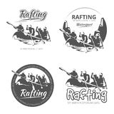 Vintage rafting, canoe and kayak vector labels, emblems badges set Royalty Free Stock Photo