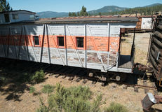 Old railroad car. Vintage rail car at Portola, California, rotting away Stock Photos