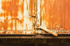 Vintage railroad container doors with rusty and old color. Vintage railroad container doors with rusty and old color of a freight train at Sia-Att railway Royalty Free Stock Image