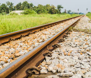 Vintage railway with ballast and rail sleepers in countryside, T Royalty Free Stock Photos