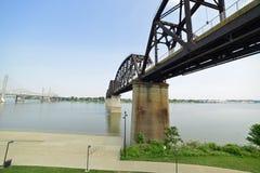 Vintage railway bridge repurposed as a walkway across the Ohio r. Iver royalty free stock images
