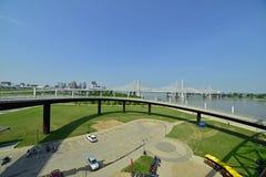Vintage railway bridge repurposed as a walkway across the Ohio r. Iver royalty free stock photos