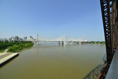 View from a vintage railway brigde crossing the Ohio river. Vintage railway bridge repurposed as a walkway across the Ohio river royalty free stock image