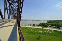 Vintage railway bridge repurposed as a walkway across the Ohio r. Iver royalty free stock photo
