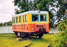Vintage Railway Carriage. Vintage soviet railway carriage at cloudy day Stock Photo