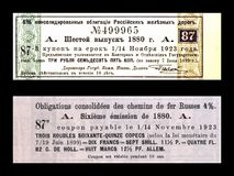 Vintage railway coupon ticket of Moscow-Kiev-Voronezh railway Society printed in tsarists Russia, 1880,. RUSSIA - CIRCA 1880: vintage railway coupon ticket of Stock Photography