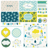 Vintage Rain & Sky Party Set Royalty Free Stock Images