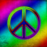 Vintage grunge rainbow neon peace sign stock images