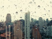 Vintage Raindrops. On the mirror in the city Stock Photos