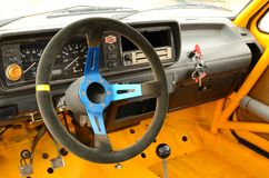 Vintage rally car inside Royalty Free Stock Photo