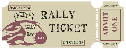 Vintage Rally Ticket Stock Images