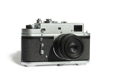 Vintage Rangefinder Amateur camera in a metal case under the sta Stock Images