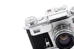 Vintage rangefinder analog camera. Detail of vintage rangefinder film camera isolated on white Royalty Free Stock Image