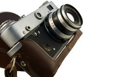 Vintage rangefinder camera in case Stock Image