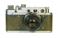 Vintage rangefinder camera front view. Vintage range-finder camera. Isolated image on white background Royalty Free Stock Photography