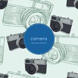Vintage rangefinder film camera, seamless pattern sketch vector. Vintage rangefinder film camera, seamless pattern hand draw sketch vector Stock Images