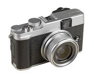 Vintage rangefinder style camera isolated on white. With clipping path Stock Photo