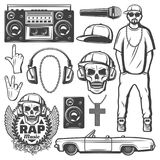 Vintage Rap Music Elements Collection. With rapper boombox microphone cap chain necklace loudspeaker car skull label headphones isolated vector illustration Royalty Free Stock Photos