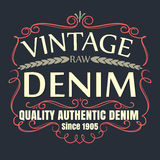 Vintage raw denim typographic for t-shirt,tee graphic,vector illustration. Vintage raw denim typographic for t-shirt,tee graphic,poster,label,vector illustration Stock Photos