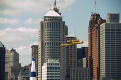 Vintage RCAF. Three vintage Royal Canadian Air Force planes flying past the city of Detroit during the Red Bull Air Race Royalty Free Stock Image