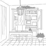 The Vintage Reading Room Vector Line Art Illustration. For many purpose such as put on architecture and interior magazine, blog, book, website, adult coloring Stock Image