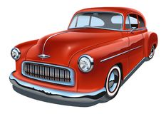 Vintage realistic classic car. Isolated on white background stock illustration