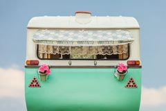 Vintage caravan in two tone green and white Stock Images