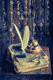 Vintage reception in hotel with guestbook and keys for rooms Stock Photo