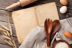 Vintage recipe book, utensils and ingredients Royalty Free Stock Photo