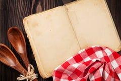 Vintage recipe cookbook and utensils Stock Image