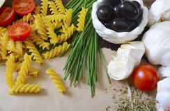 Vintage Recipe with Mediterranean Vegetables Concept. Stock Images