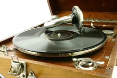 Vintage record. Close up at record being played on a old gramophone Royalty Free Stock Image