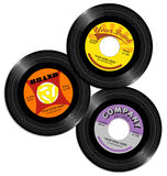 Vintage 45 record label designs set 2. Set of retro record label designs stock illustration
