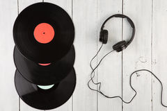 Vintage record LP and headphones Royalty Free Stock Photo