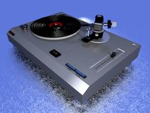 Vintage record player. 3D modelled vinyl record player royalty free stock photo