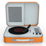 Vintage record player. Close up view of a vintage record player (3d render Stock Photography