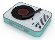 Vintage record player. Close up view of a vintage record player (3d render Stock Images